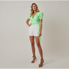 M3224034-1M Look Fashion, White Shorts, Mint, Women, Unique Clothing, Flare Leg Jeans, Low Cut Dresses, Templates, Vestidos