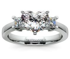 Heart Princess Diamond Engagement Ring in White Gold www.brilliance.com #aromabotanical