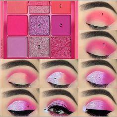 Makeup Eye Looks, Pink Eye Makeup, Eye Makeup Steps, Colorful Eye Makeup, Beautiful Eye Makeup, Smokey Eye Makeup, Eyeshadow Makeup, Beauty Makeup, Makeup Eyebrows
