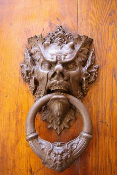 Scary door knocker in Volterra, Italy...specially for the introverted and the loners... I love it!