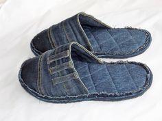 Hausschuhe & Pantoffeln - Jeans recycling, Hausschuhe, Pantoffeln - ein Designerstück von sauterart bei DaWanda