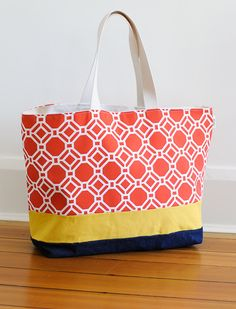 Extra Large Tote Beach Bags | EXTRA Large Beach Bag // Tote in Poppy Geometric with a Yellow Accent