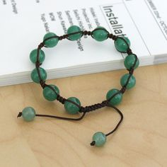 10mm Jade Beads with Brown Cord Macrame Bracelet
