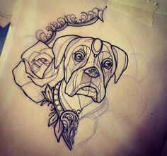 neo traditional tattoo flash boxer dog