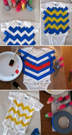 DIY PAINTED ONESIES-cute idea for unique baby shower gifts