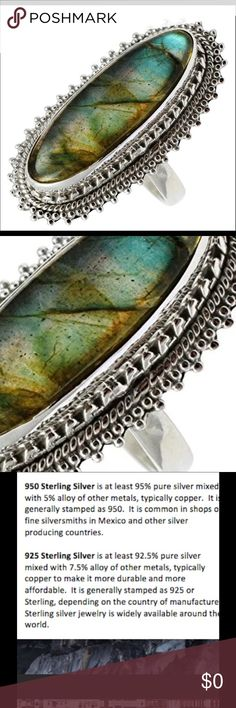 """Labradorite Vibrant Sterling Silver 925  Ring A beautiful colorful Labradorite ring 925 Sterling Silver Size: 7.5 Stone Size : 1 1/8""""Long x 3/8""""Wide. A very pretty ring that is a perfect size for any finger. 12231717016578 Artisan Jewelry Rings"""