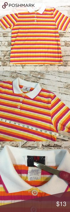 Vintage 80s retro stripe loose fit polo shirt Great condition! All my items are pictured accordingly. Every details are on the picture. If not pictured the dry clean tag, item doesn't need dry clean. Measurements are also in the photos and the details of the fabric. Please zoom in. Please check accordingly. Bundle & save!! Always message me if you need more discount on your items. I try to work as best as I can. Thank you! Vintage Tops Blouses