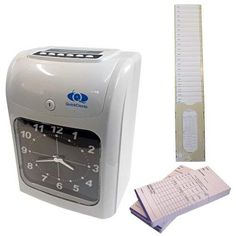 QuickClocks Clocking in Machine Attendance Recorder (Starter Pack With Cards and Card Rack) Attendance, Espresso Machine, Packing, Cards, Police, Watches, Stationery, Stamps, Products