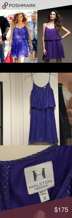 Halston Heritage electric blue metallic dress Halston Heritage electric blue metallic stripe dress. Size 0. As seen on Carrie in Sex and the City 2. Worn twice. Perfect condition. More of a purple/blue color than blue. Halston Heritage Dresses Midi
