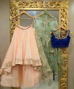 lehenga // if it was a normal length lehenga. Pakistani Dresses, Indian Dresses, Indian Outfits, Pakistani Suits, Emo Outfits, Saris, Ethnic Fashion, Indian Fashion, Punk Fashion