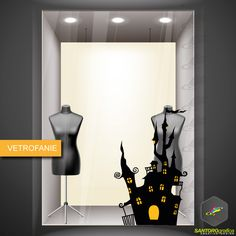 casa infestata - vetrofania - halloween - realizzata in vinile prespaziato