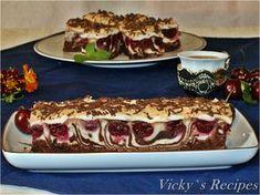 Prăjitură zebră din albușuri cu vișine și ciocolată