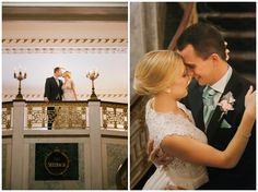 Mollie Crutcher Photography, wedding, bride and groom portraits, balcony, grand staircase, historic hotel