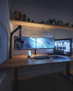 Close to finished new office setup. Best Gaming Setup, Computer Desk Setup, Gaming Room Setup, Pc Setup, Minimalist Desk, Bedroom Setup, Home Office Setup, Game Room Design, Workspace Inspiration