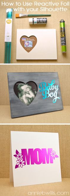 Foiled Baby Frame by Annie Williams - including a full tutorial on cropping photos and using reactive foils with your Silhouette