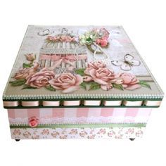 Caixa Cerimony Love - Aula TV 19/02/2015 Decoupage Vintage, Decoupage Box, Shabby Chic Boxes, Vintage Shabby Chic, Face Painting Tutorials, Pretty Box, Altered Boxes, Jewellery Boxes, Painted Boxes
