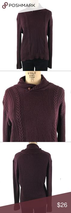 Tasso Elba burgundy cotton chunky knit sweater Tasso Elba burgundy chunky knit sweater size medium 100% cotton. Very good used condition Tasso Elba Sweaters