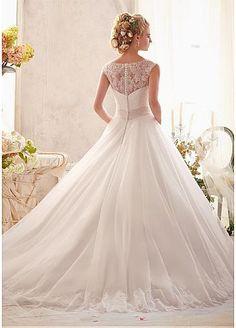 [199.50] Elegant Tulle & Satin Jewel Neckline Natural Waistline A-line Wedding Dress - Dressilyme.com