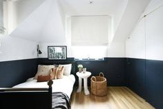 Half-painted walls give a stylish look to a monochromatic room from If you love the look of black walls but are afraid of the room becoming too cavelike, this is a great compromise. Half Painted Walls, Half Walls, Two Tone Walls, Block Wall, Bedroom Wall, White Bedroom, Bedroom Chair, Bedroom Ideas, Interiores Design
