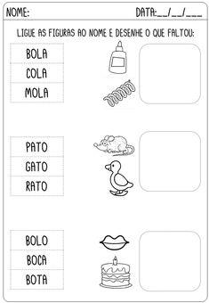 Criar Recriar Ensinar Portuguese Lessons, Homeschool, Classroom, Siena, Alice, Preschool Literacy Activities, Writing Activities, Word Reading, Letter Activities
