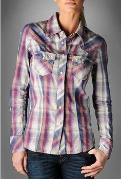 True Religion Women's Plaid Poplin Rocky Western Shirt 8-18-11