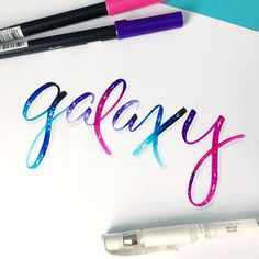 Galaxy Lettering using Tombow Dual Brush Pens Brush Pen Art, Tombow Markers, Tombow Dual Brush Pen, Hand Lettering Alphabet, Calligraphy Letters, Brush Lettering, Typography Quotes, Handwritten Typography, Beautiful Handwriting