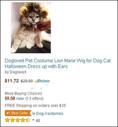 Dogloveit Pet Costume Lion Mane Wig for Dog Cat Halloween Dress up with Ears Halloween Dress, Halloween Cat, Cute Dog Costumes, Super Cute Dogs, Lion Mane, Four Legged, Wig, Ears, Dog Cat
