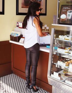 climbhigher: #nbd just going to sbux in leather pants and stilettos#as you do
