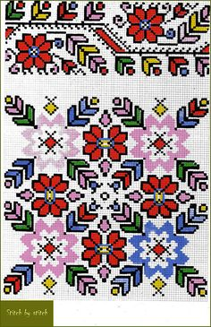 Закарпатская область (узор colorful dense, border for pic cushion or humbug Cross Stitch Borders, Cross Stitch Flowers, Cross Stitch Charts, Cross Stitch Designs, Cross Stitching, Cross Stitch Patterns, Folk Embroidery, Cross Stitch Embroidery, Embroidery Patterns