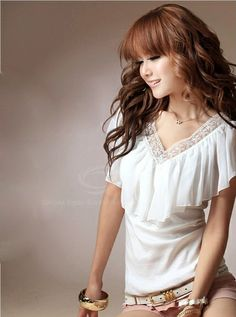 e49919fcb8a38d Women's Cotton+Chiffon Blouse With Flounce Embellished V-Neck Design  (WHITE) China