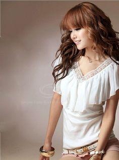 Women's Cotton+Chiffon Blouse With Flounce Embellished V-Neck Design (WHITE) China Wholesale - Sammydress.com