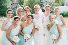 Light Blue One Shoulder Bridesmaids Dresses   photography by http://dearwesleyann.com