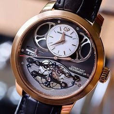 girardperregaux's photo: The groundbreaking Constant Escapement LM clad in pink gold. Amazing Watches, Beautiful Watches, Cool Watches, Watches For Men, Wrist Watches, Elegant Watches, Stylish Watches, Dream Watches, Luxury Watches