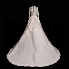 Gorgeous Champagne Long Sleeve A Line Lace Wedding Gown Custom Veil for Bride 2019 | Home