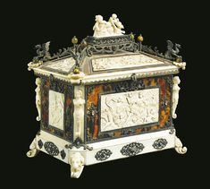 A fine silver, tortoiseshell, colored stone mounted carved ivory casket Germany, Hanau, late 19th century, by B. Neresheiner & Sohne.