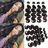 shuangya hair Virgin Peruvian Body Wave 4 Bundles Mixed Length Human Hair Weave 8-30inch (14 14 14 14)
