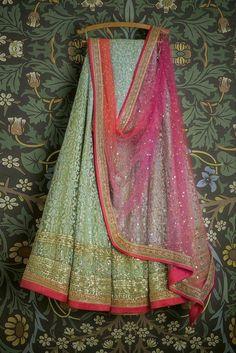 Light green net based thread work lehenga choli set indian wedding dresses lehenga choli set Swati Manish inspired lehenga Check out this item in my… Indian Attire, Indian Wear, Indian Style, Indian Dresses, Indian Outfits, Indian Clothes, Indian Lehenga, Lehenga Choli, Anarkali