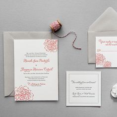 """White-and-Pink Floral Letterpress Invite. """"Peony"""" wedding invitation, $425 for 100 two-color invitations, Aerialist Press"""