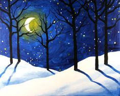 Social Artworking Canvas Painting Design - Winter Woods