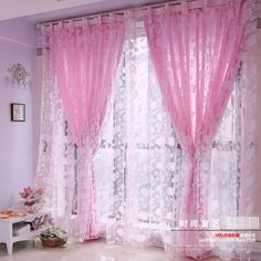 shipping promotion high quality finished flock printing curtain romantic ready made window screening pink from Home &. Girls Room Curtains, Pink Curtains, Cheap Curtains, Home Curtains, Colorful Curtains, Decoration Shabby, Shabby Chic Decor, Luxury Curtains, Shabby Chic Kitchen