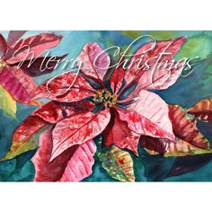 Merry Christmas Poinsettia Printable DIY Christmas card 5x7 pdf from... (3.91 AUD) ❤ liked on Polyvore featuring home, home decor and stationery