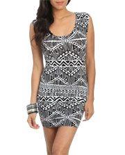 Tribal Mesh Bodycon Dress