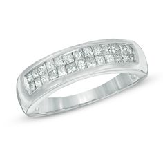 Men's 1 CT. T.W. Princess-Cut Diamond Double Row Wedding Band in 14K White Gold - Size 10.5