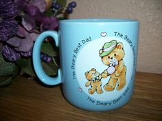 Beary Best Dad Coffee Cup Father and Baby Bear Bevwrage Mug Vintage 1985 Blue…