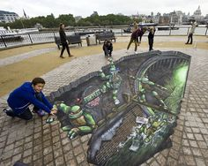 Dude, street art turns Teenage Mutant Ninja Turtles 3D.  This is amazing.  Why couldn't Lafayette be this cool?