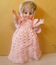 "Vintage Hong Kong Baby Doll 12"" Blue Sleep Eyes Hand Crochet pink outfit"