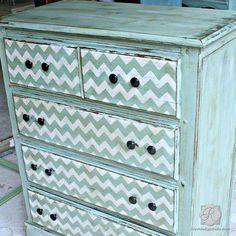 DIY Furniture Makeover using Classic Chevron Stripe Stencils - Royal Design Studio
