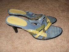 "Nine West Blue Green Yellow Leather Snakeskin Straps Slip On 3.25"" Heels Sz 8 M"