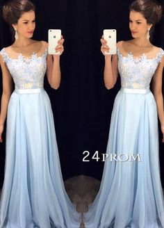 lace blue long prom dress for teens, unique long prom dresses 2016, modest prom dress #prom #promdress