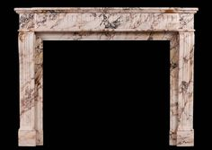 A French Louis XVI style antique chimneypiece in Pink Lez Breccia marble. The shaped, scrolled jambs surmounted by carved square paterae. The stop-fluted shaped frieze with moulded shelf above. A striking marble from the Haute-Garonne region of southern France. 19th century. Stock No: 3922